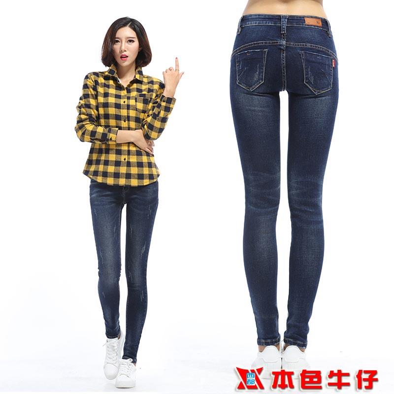 西都本色新款情侣牛仔裤舒适直筒长裤小脚裤女